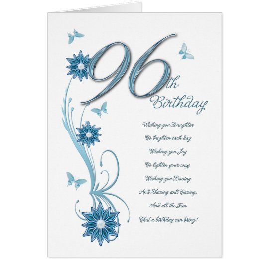 96th birthday in teal with flowers and butterfly