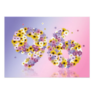96th Birthday party, with flowered letters Invitation