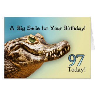 97th Birthday card with a smiling alligator