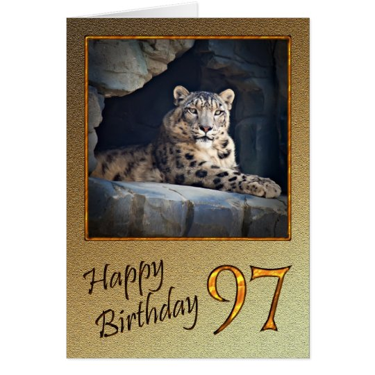 97th Birthday Card with a snow leopard