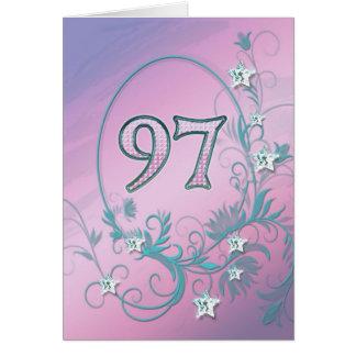 97th Birthday card with diamond stars