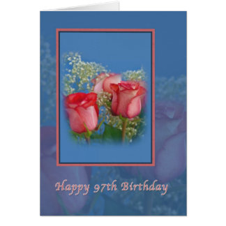 97th Birthday Card with Red Roses