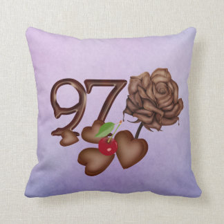 97th birthday Chocolate rose and hearts pillows