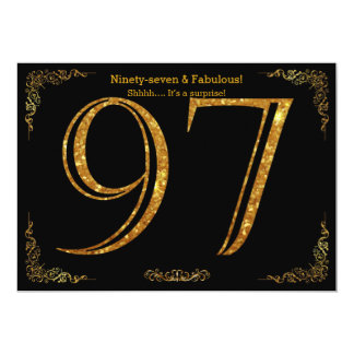 97th Birthday party,Gatsby styl,black gold glitter Card