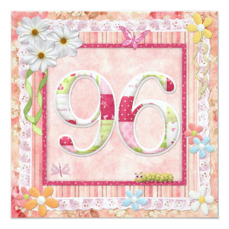 97th birthday party scrapbooking style 13 cm x 13 cm square invitation card