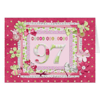 97th birthday scrapbooking style greeting cards