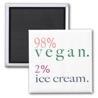 98% Vegan 2% Ice Cream Square Magnet