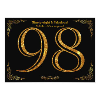 98th Birthday party,Gatsby styl,black gold glitter Card