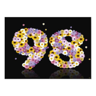 98th Birthday party, with flowered letters 5x7 Paper Invitation Card