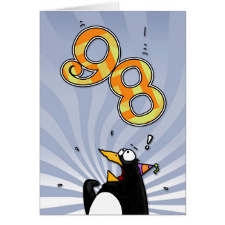 98th Birthday - Penguin Surprise Card