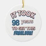 98th year birthday designs ornaments