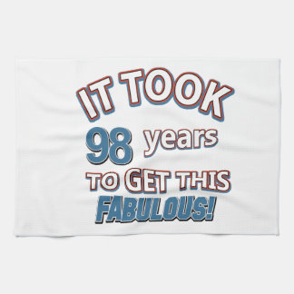 98th year birthday designs tea towel