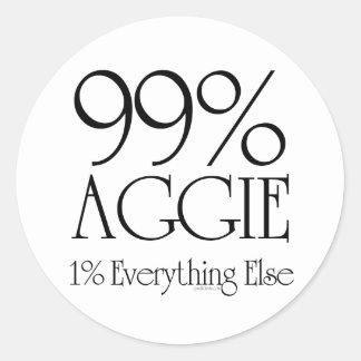 99% Aggie Round Sticker