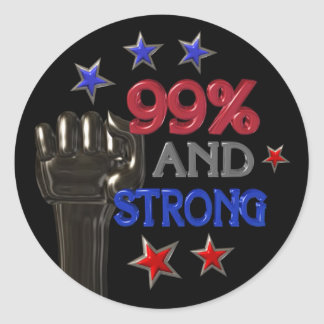 99% and Strong protest on 30 items Round Sticker