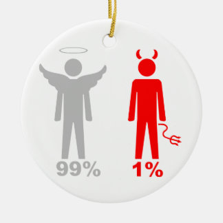 99% Angel 1% Devil Man Round Ceramic Decoration