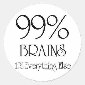 99% Brains Round Sticker