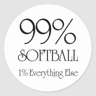 99% Softball Round Sticker