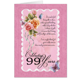 99 years old greeting card - roses and butterflies