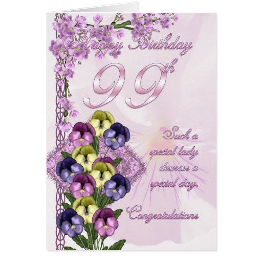 99th Birthday Card For A Special Lady
