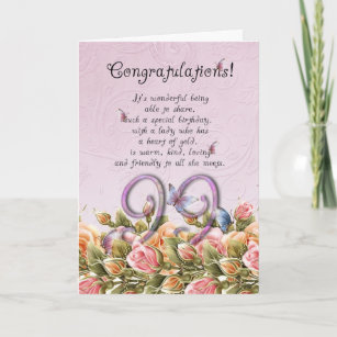 99th Birthday Card With Butterflies And Roses