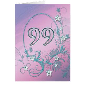 99th Birthday card with diamond stars