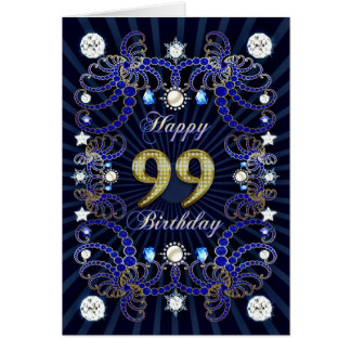99th birthday card with masses of jewels