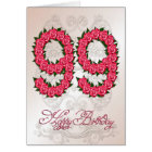 99th birthday card with roses and leaves