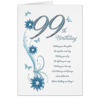 99th birthday in teal with flowers card