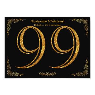 99th Birthday party,Great Gatsby,black gold glitte 13 Cm X 18 Cm Invitation Card
