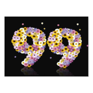 """99th Birthday party, with flowered letters 5"""" X 7"""" Invitation Card"""