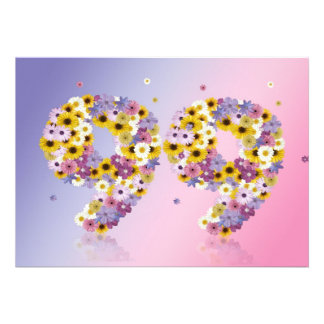 99th Birthday party, with flowered letters Custom Invites