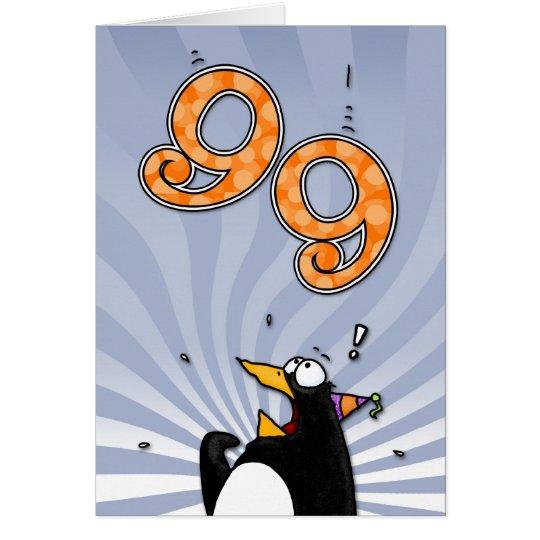 99th Birthday - Penguin Surprise Card