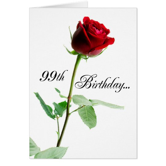 99th Birthday Red Rose Card