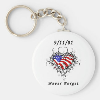 9/11/01 Patriotic Tattoo Basic Round Button Key Ring
