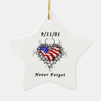 9/11/01 Patriotic Tattoo Ceramic Star Decoration