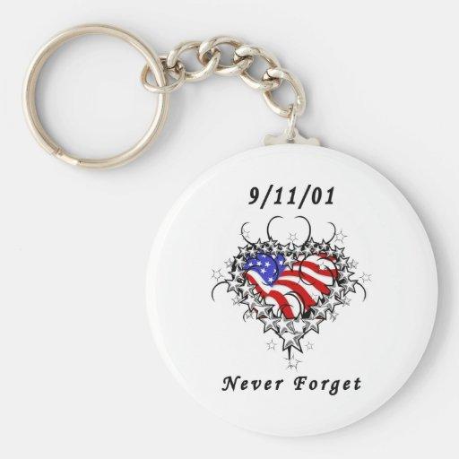 9/11/01 Patriotic Tattoo Key Chain