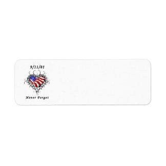 9/11/01 Patriotic Tattoo Return Address Label