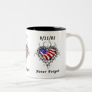9/11/01 Patriotic Tattoo Two-Tone Coffee Mug