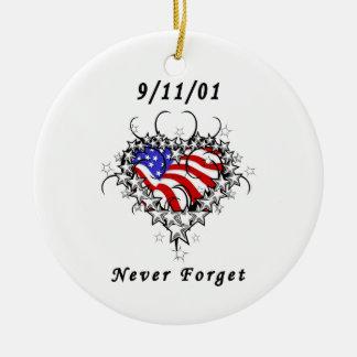 9/11/01 Patriotic Tattoo Round Ceramic Decoration