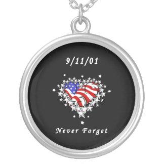 9/11/01 Patriotic Tattoo Round Pendant Necklace