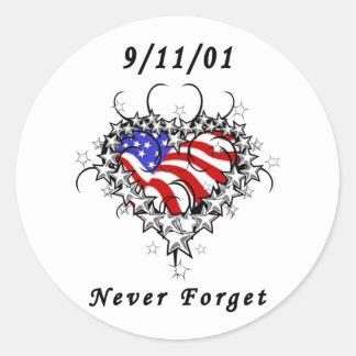 9/11/01 Patriotic Tattoo Round Sticker