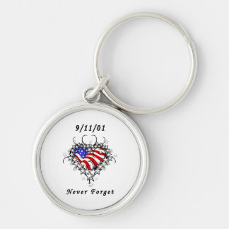 9/11/01 Patriotic Tattoo Silver-Colored Round Key Ring