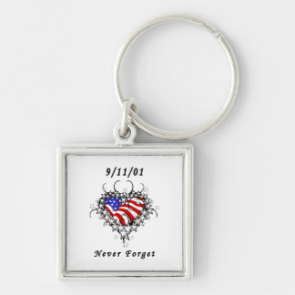 9/11/01 Patriotic Tattoo Silver-Colored Square Key Ring