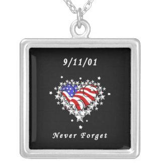 9/11/01 Patriotic Tattoo Square Pendant Necklace
