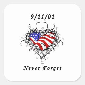 9/11/01 Patriotic Tattoo Square Sticker