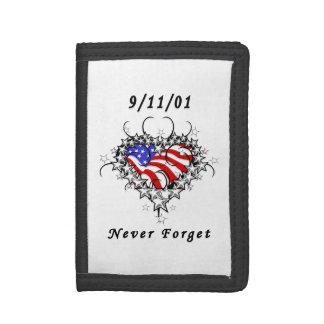 9/11/01 Patriotic Tattoo Tri-fold Wallets