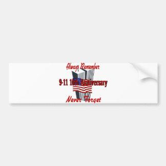 9-11 10 Anniversary Commemorative Car Bumper Sticker