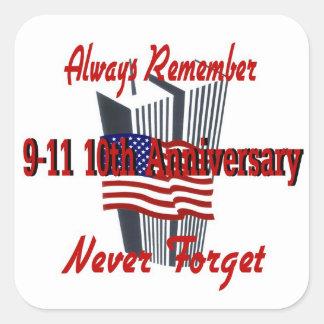 9-11 10 Anniversary Commemorative Square Sticker