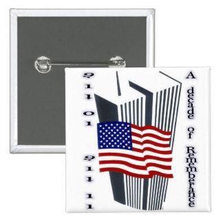 9-11 10th Anniversary Commemorative Pinback Buttons