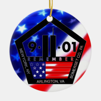 9-11 10th Anniversary Commemorative Double-Sided Ceramic Round Christmas Ornament